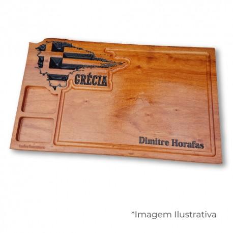 Tábua para churrasco - personalizada - países - Grçia - 2 molhos - 50x30cm