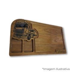 Tábua para churrasco - tradicional caminhoneiro - dois molhos - 50x30cm